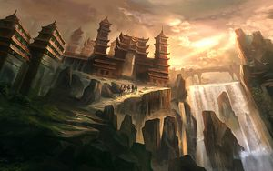 Preview wallpaper silhouettes, nomads, castle, fantasy, art