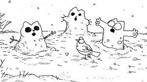 Preview wallpaper simons cat, cat simon, cartoon, snowman, masking