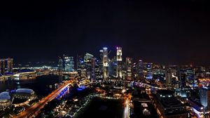 Preview wallpaper singapore, night, city, panorama