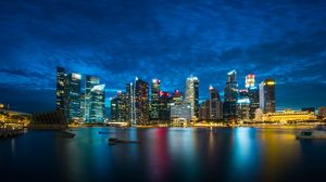 Preview wallpaper singapore, night city, skyscrapers, panorama