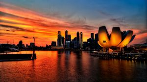 Preview wallpaper singapore, sky, sunset, light
