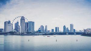 Preview wallpaper singapore, skyscrapers, beach, ferris wheel