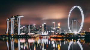 Preview wallpaper singapore, skyscrapers, buildings, shore, night