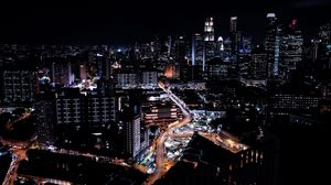 Preview wallpaper singapore, skyscrapers, night, night city