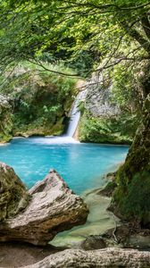 Preview wallpaper скалы, озеро, водопад, природа, пейзаж