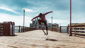 Preview wallpaper skate, jump, trick, extreme, skateboarder, pier, flooring