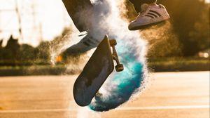 Preview wallpaper skate, skateboard, cloud, jump, trick