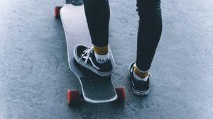 Preview wallpaper skate, skateboard, legs, sneakers, ride
