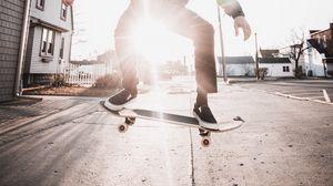 Preview wallpaper skate, skateboarder, skateboarding, street, beam