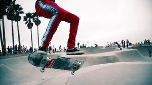 Preview wallpaper skate, skater, jump, trick, skate park, venice, los angeles, trendy