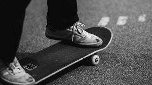 Preview wallpaper skate, sneakers, legs, bw