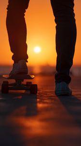 Preview wallpaper skateboard, legs, sunset, light