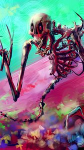 Preview wallpaper skeleton, art, bright, colorful