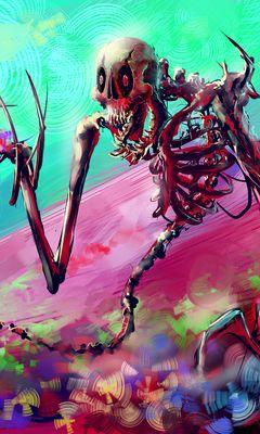 240x400 Wallpaper skeleton, art, bright, colorful