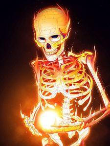 Preview wallpaper skeleton, bones, fire, art