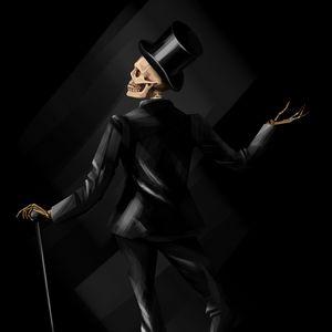 Preview wallpaper skeleton, costume, hat, art