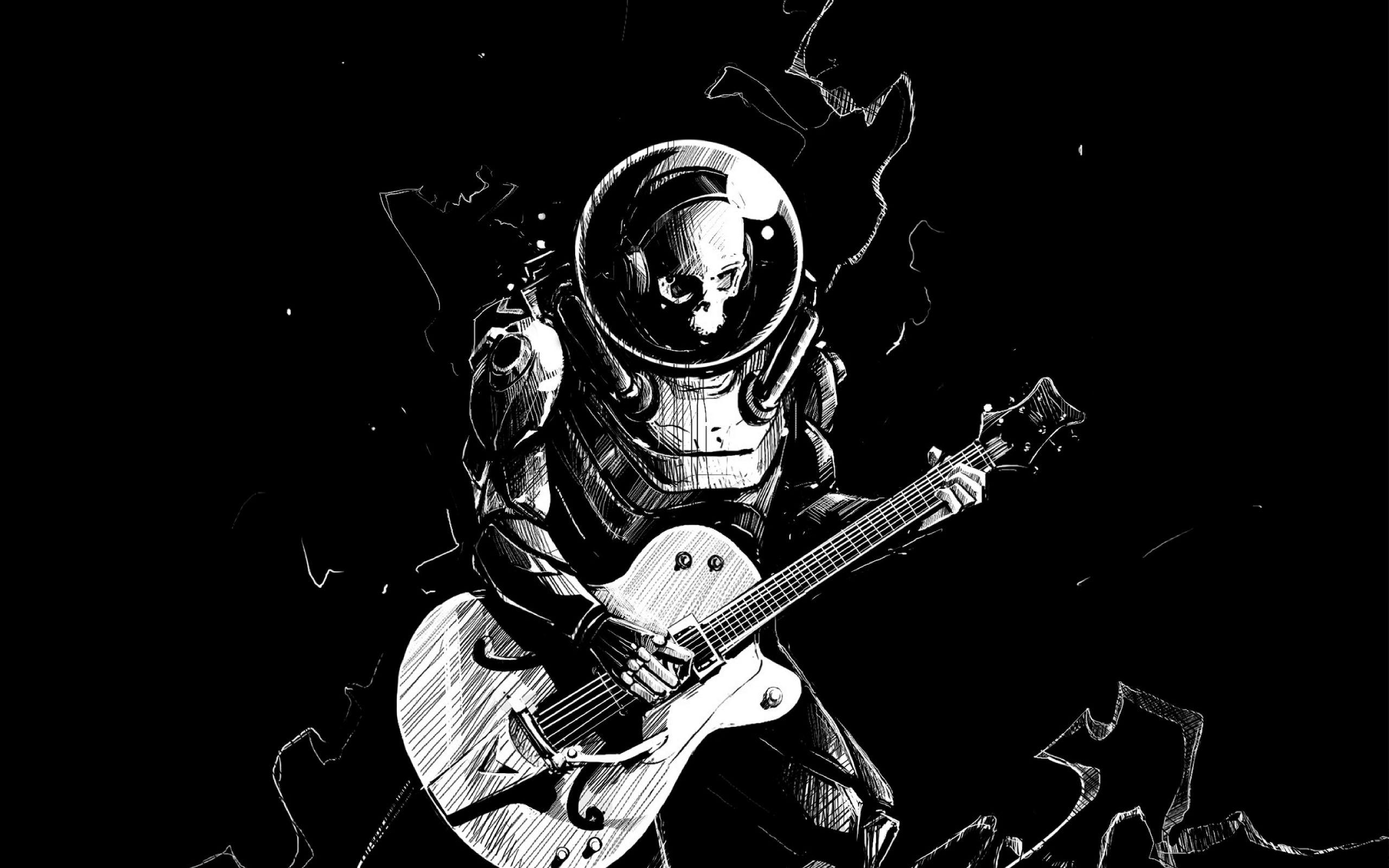 2560x1600 Wallpaper skeleton, guitar, bw, guitarist, spacesuit, art