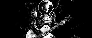Preview wallpaper skeleton, guitar, bw, guitarist, spacesuit, art