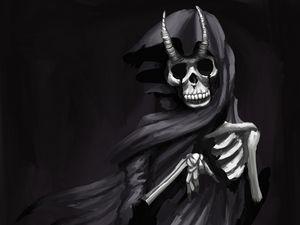 Preview wallpaper ghost, skeleton, horns, cloak, art, black and white, black