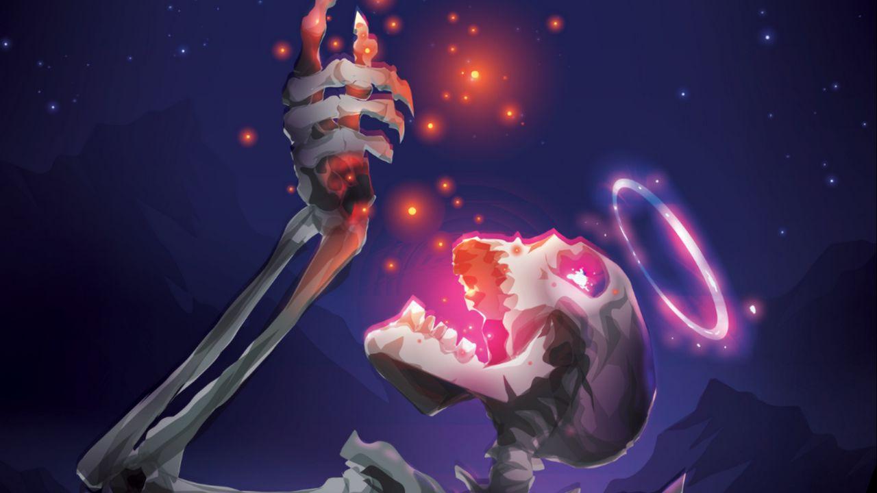 1280x720 Wallpaper skeleton, skull, stars, shine