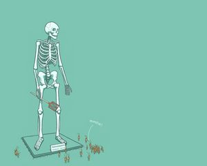 Preview wallpaper skeleton, stand, color