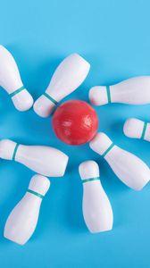 Preview wallpaper bowling, skittles, ball, sport, blue