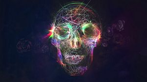 Preview wallpaper skull, abstract, bright, background