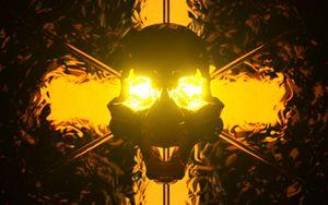 Preview wallpaper skull, art, backlight, light, dark