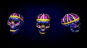 Preview wallpaper skull, art, bright, 3d