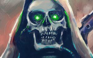 Preview wallpaper skull, art, hood, eyes