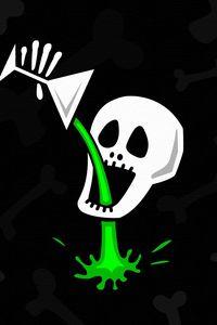 Preview wallpaper skull, bone, drink, drinks, green