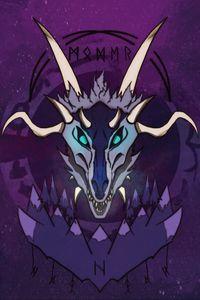 Preview wallpaper skull, horns, runes, art, purple, scary