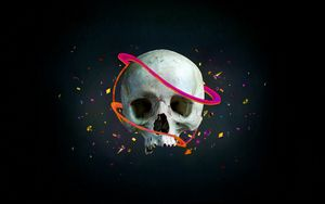 Preview wallpaper skull, lines, vector, confetti, arrows