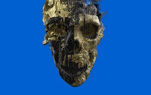 Preview wallpaper skull, paint, golden, skeleton, 3d