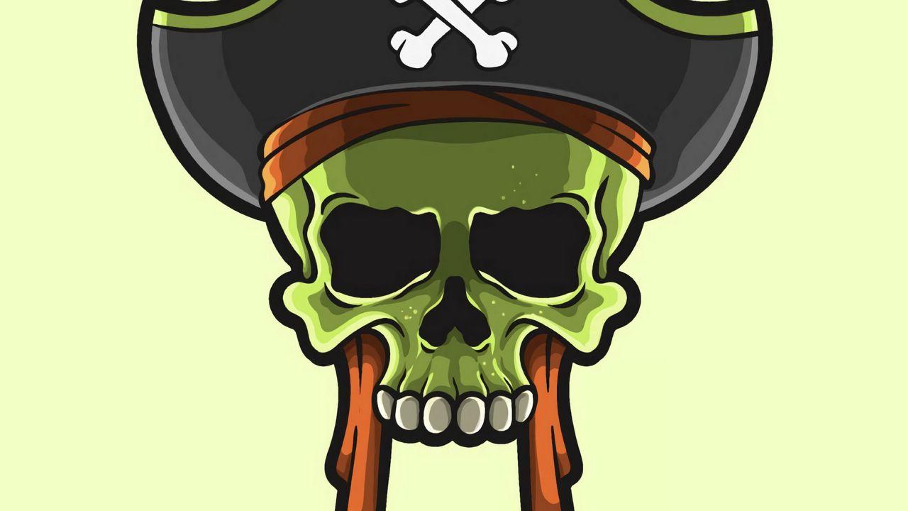 Wallpaper skull, pirate, vector, art
