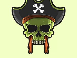 Preview wallpaper skull, pirate, vector, art