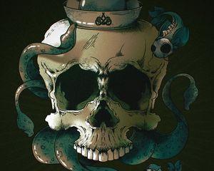 Preview wallpaper skull, skeleton, fish, art