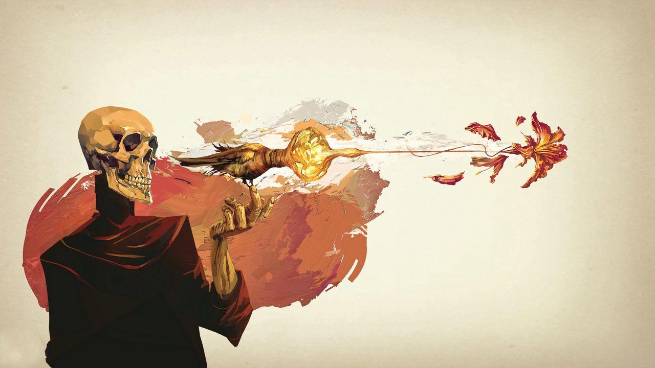 1280x720 Wallpaper skull, skeleton, flower, fantasy, art