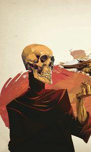 Preview wallpaper skull, skeleton, flower, fantasy, art