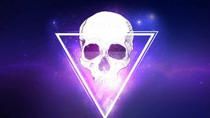 Preview wallpaper skull, triangle, space