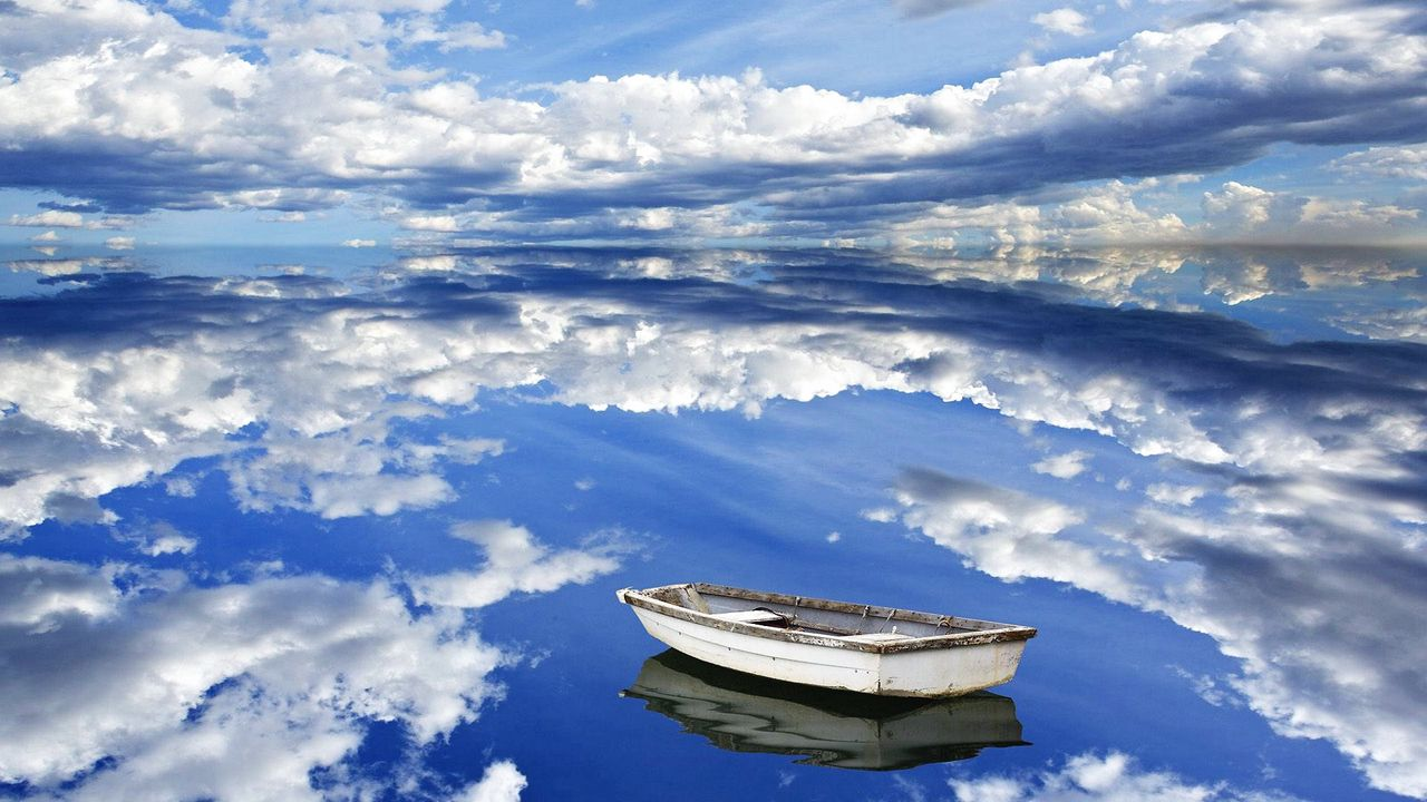 Wallpaper sky, clouds, reflection, boat