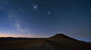 Preview wallpaper sky, constellations, night, desert, mountain, sand