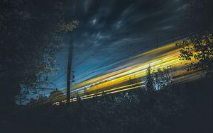 Preview wallpaper sky, light, railway, night