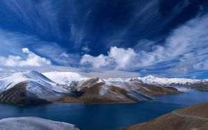 Preview wallpaper sky, mountains, hills, river, clouds, bends, water