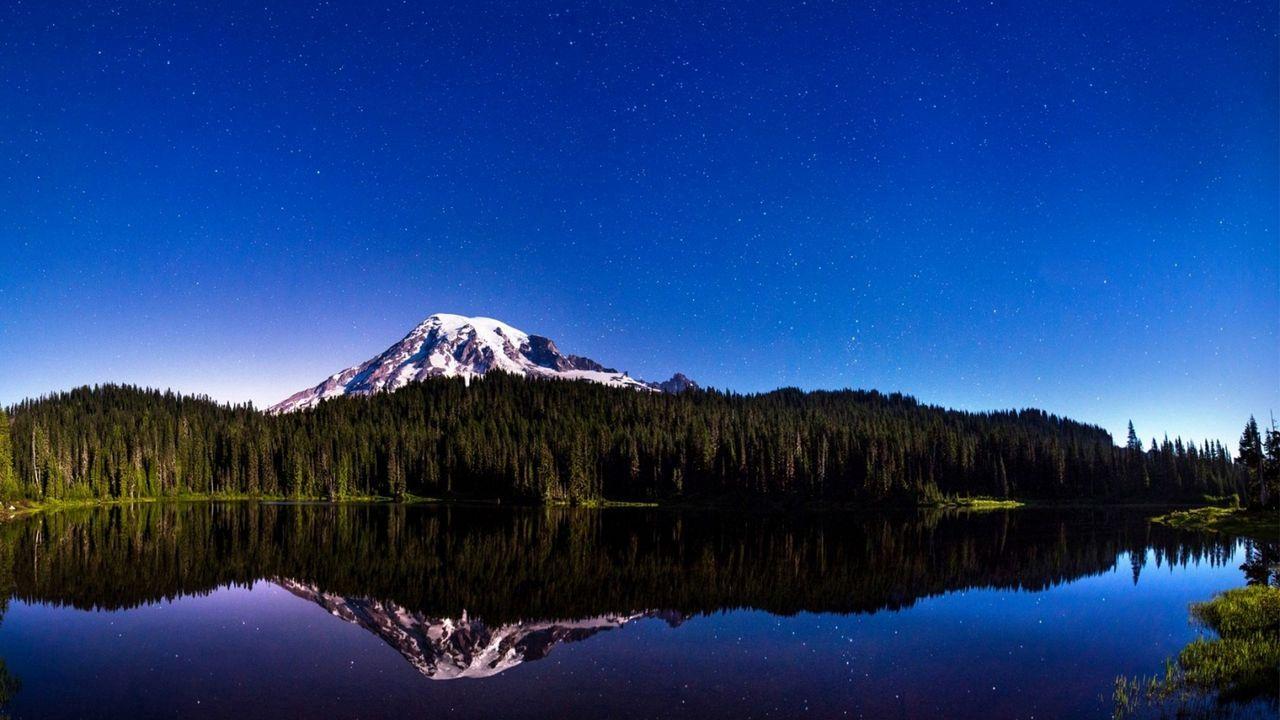 Wallpaper sky, mountains, light, reflection