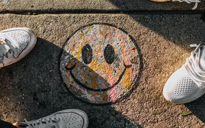 Preview wallpaper smile, feet, art, shadow