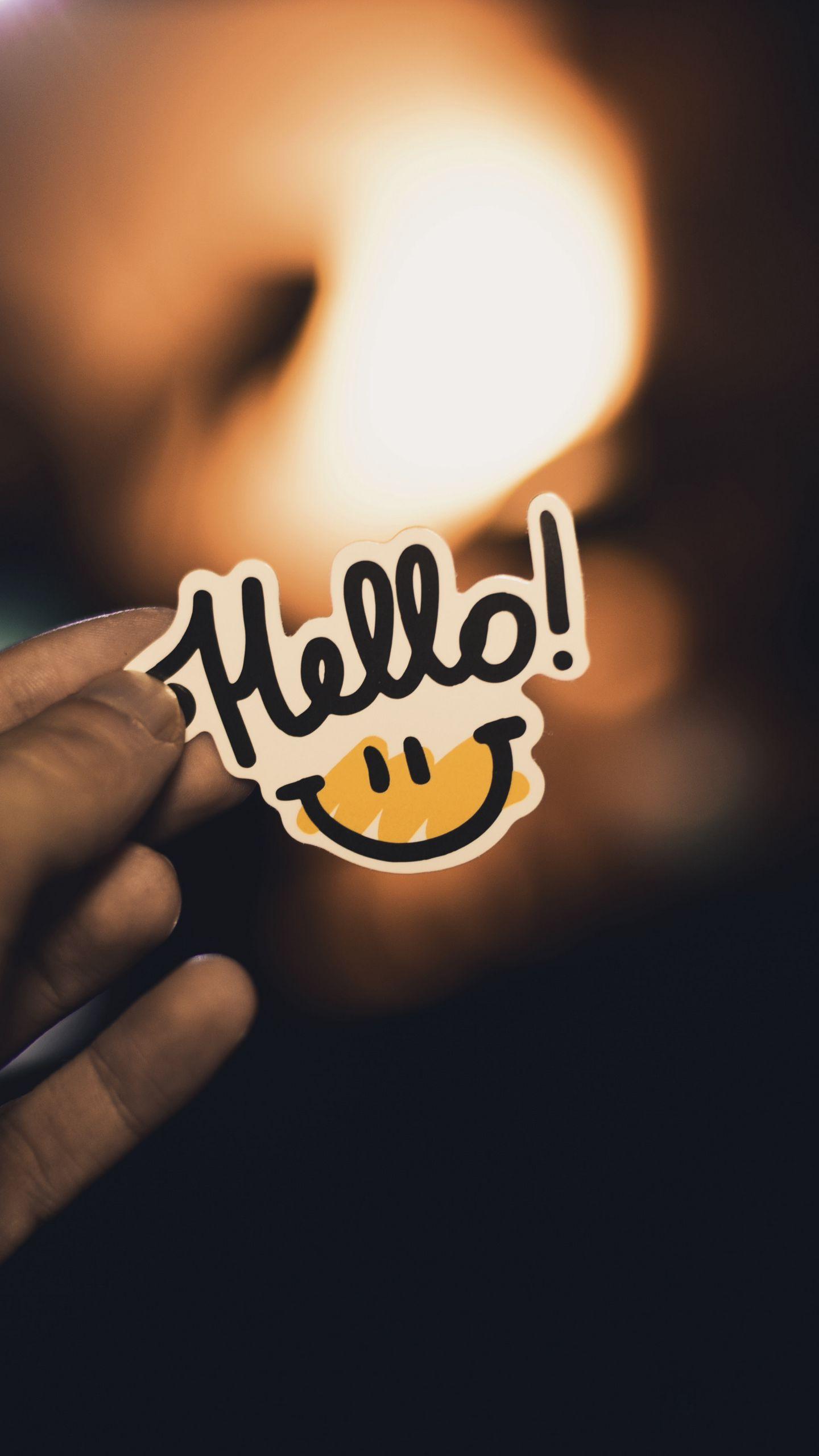 1440x2560 Wallpaper smile, inscription, hand, hello