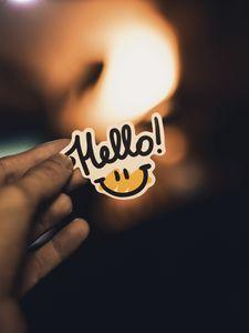 Preview wallpaper smile, inscription, hand, hello