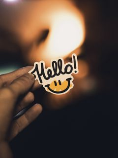 240x320 Wallpaper smile, inscription, hand, hello