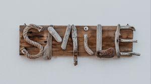 Preview wallpaper smile, inscription, wooden, creative